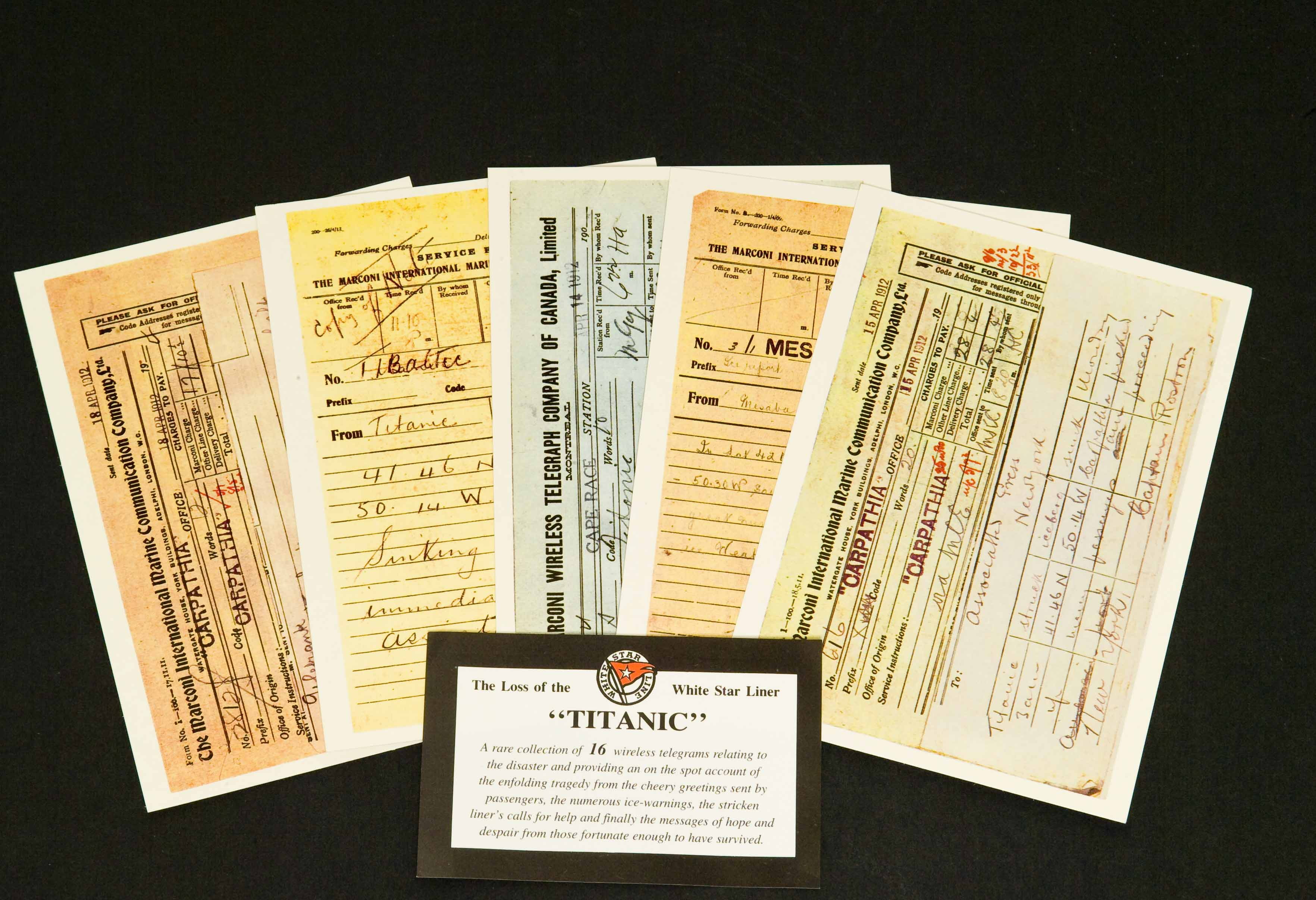 16 x Titanic Telegram Postcards